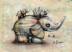 Upside Down Elephants Painting by Karin Taylor - Upside Down Elephants Fine Art Prints and Posters for Sale Elephant Love, Elephant Art, Elephant Tattoos, Elephant Design, Elephant Stuff, Elephant Crafts, Baby Tattoos, Sale Poster, Art Portfolio