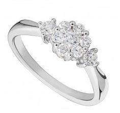 9ct white gold 0.43 carat diamond flower cluster ring