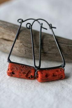 Carrot Sherpa Glass Hoops earrings-sherpa glass, carrot color, rustic, rectangular hoops,solid copper,boho,earthy,organic