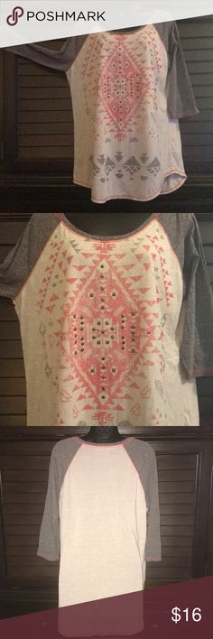 Maurices- 3/4 length sleeve baseball style shirt Dark heather gray, oatmeal heather and coral with gold bling.  Aztec print. Maurices Tops Tees - Long Sleeve
