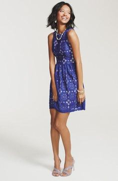 Love this blue lace fit & flare dress!