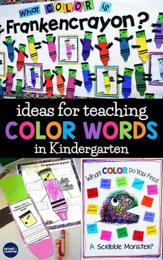 Learn ways to help students master color words as they build sight word vocabulary. Kindergarten and first grade students will love these fun teaching ideas and sight word activities for learning color words with Frankencrayon and Scribble Monster! Kindergarten Colors, Kindergarten Reading, Kindergarten Classroom, Kindergarten Activities, Classroom Activities, Classroom Ideas, Kindergarten Anchor Charts, Preschool Bulletin, Grammar Activities
