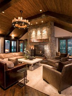 I love the ceiling in this living room.  It would be great in our Colorado dream home!
