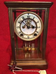 7f6d170746c Antique New Haven 8 Day CRYSTAL REGULATOR Clock Exposed Escapement Excel  Running