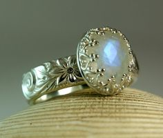 Sterling Silver Moonstone Ring Faceted by TazziesCustomJewelry, $68.00