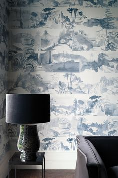 A bold contemporary look at the Toile design with this montage of the artist Hugo Dalton's watercolour sketches of the Abbey Gardens. Shown in the Blue Blood colourway - shades of mid blue.