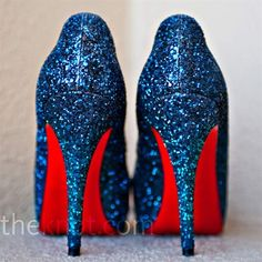 This pair of sparkly blue Christian Louboutins
