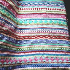 "Crochet Along from ""Not Your Average Crochet"" blog- Mixed Stripey Blanket like Attic24"
