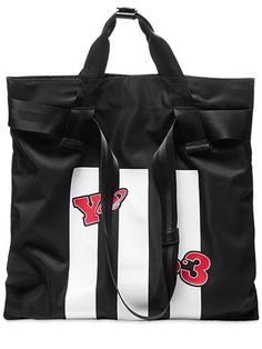 Y-3 Logo Nylon Twill Tote Bag, Black. #y-3 #bags #shoulder bags #hand bags #nylon #tote #