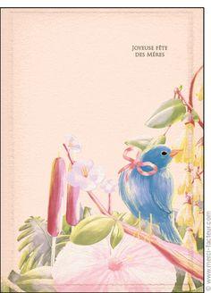 Carte F�te des m�res et oiseau bleu pour envoyer par La Poste, sur Merci-Facteur !