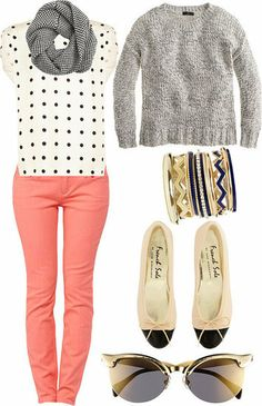 Cute outfit for spring. polka dots and bright pants