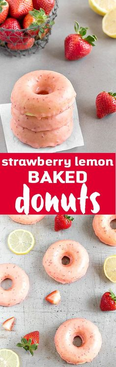 Treat yourself to these easy Strawberry Lemon Baked Donuts for breakfast! Soft, fresh and bright lemon donuts dipped in a thick strawberry glaze. (pinned 3.2K)