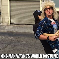 This incredible Wanyne's World get-up shared by Imgur user Extreminate features both Wayne and Garth in one costume!
