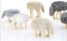 interior design Four-Legged Chair With a Furry Cover and Tail: The Animal Stool Unusual Furniture, Kids Furniture, Furniture Design, Japanese Animals, Kids Stool, Ideas Hogar, Japan Design, Kids Decor, Home Decor