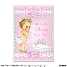 Princess Baby Shower Girl Pink Tiara Heart Blonde 5x7 Paper Invitation Card