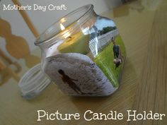 Mother's Day Craft for Kid's: Picture Candle Holder via www.jmanandmillerbug #crafts #mothersday