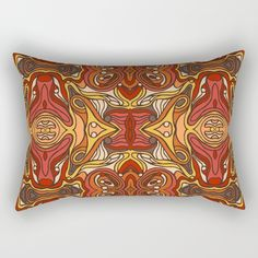 Abstract colorful hand drawn curly pattern design Rectangular Pillow