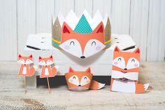 Fox woodland birthday Party printable decor kit cute fox