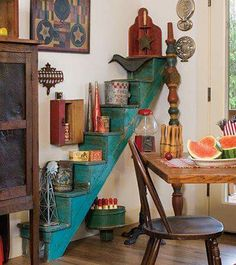 Old staircase used as shelving.