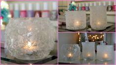 Vasetti di vetro, colla vinilica, e una rotolata nel sale, il risultato è una lampada spettacolare!