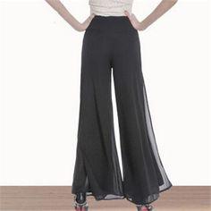 High Quality Womens Wide Leg Dress Pants Plus Size Office Ladies Wide Legged Skirt Trouser Double Layer Long Pant Side Open K115