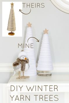Make these easy and affordable DIY winter yarn trees to spruce up your winter decor! A great knock off idea to get the look for less! Get the tutorial at ! Christmas Tree Yarn, Rustic Christmas, Simple Christmas, Winter Christmas, Christmas Ornaments, Tree Crafts, Holiday Crafts, Holiday Decor, Diy Christmas Projects