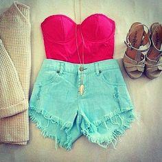 High Waisted Denim Short & Red Bustier - Summer Outfit