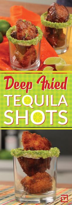 Only five steps separate you from deep-fried boozy bliss. First: make an angel food cake (or, you know, buy one). Next, cube it up into poppable bites. After that, soak each cake cube in tequila, then deep-fry the cubes in oil until they're golden on all sides. Finally, sprinkle your shots with powdered sugar. Placing them all in an actual salt-rimmed shot glass is up to you, as is deep-frying the worm.