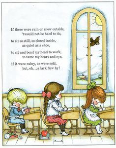 """School, from """"Morning is a littler child, by Joan Walsh Anglund. First published in Great Britain in Copyright 1969 by Joan Walsh Anglund. Old Nursery Rhymes, Joan Walsh, Pomes, Kids Poems, Children's Literature, Children's Book Illustration, Book Crafts, Vintage Children, Childrens Books"""