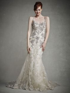 Style * JUDY * » Enzoani 2015 Collection » by Enzoani » Available Colours : Champagne/Silver, Ivory/Silver ~ Shown with thin Beaded Spaghetti Straps & intricate Beaded Embroideries over Lace Appliqués on Bodice.