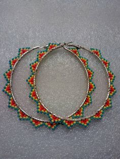 Beaded Hoop Earrings-Native American Made by LalaAndRavenBeadwork