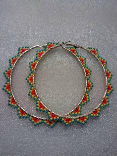 Beaded Hoop Earrings-Native American Made by LalaAndRavenBeadwork