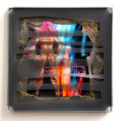 """Dancing Queen at the Car Wash  2014, 14"""" X 14"""" triple plastic panel, metal framed, stitched photo Copyright Leisa Rich www.monaleisa.com"""