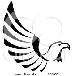 Royalty-Free Vector Clip Art Illustration of a Black And White Eagle In Flight Logo by Seamartini Graphics