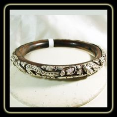 1b5d74092c0 Tibetan Wooden Bangle Bracelet Cover with Repousse Sterling Silver Designs  Tibetan Jewelry