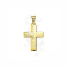 Ένας πρωτότυπος βαπτιστικός σταυρός για αγόρι ΤΡΙΑΝΤΟΣ χρυσός Κ14, επίπεδος γυαλιστερός, με χαράγματα στο αριστερό μέρος του | Σταυροί βάπτισης ΤΣΑΛΔΑΡΗΣ Χαλάνδρι #βαπτιστικός #σταυρός #βάπτισης #Τριάντος #αγόρι Different Styles, Symbols, Letters, Crosses, Baby, Soldering, Letter, Baby Humor, Lettering