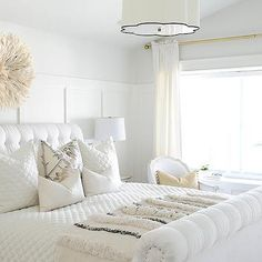 Tufted Sleigh Bed, Transitional, bedroom, Tracey Ayton Photography