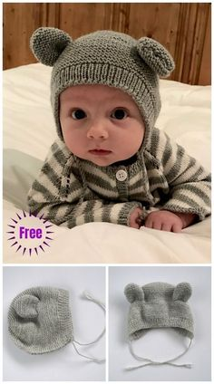 Top 10 Most Adorable Baby Hats - FREE KNITTING PATTERNS These super cute knit baby hat patterns are perfect for your little one. Check out these free knitting patterns and make these adorable baby hats! Baby Hats Knitting, Knitting For Kids, Free Knitting, Knitting Projects, Knitting Ideas, Knitted Baby Hats, Baby Knits, Knitting And Crocheting, Newborn Knit Hat
