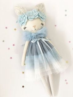 Image of 'AMELIA' - Bunny Love Collection Little Girl Toys, Toys For Girls, Knitted Dolls, Crochet Dolls, Fabric Fish, Fabric Animals, Cat Doll, Sewing Dolls, Soft Dolls