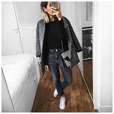 Gris et noir ⚫️ • Wool Jacket #margauxlonnberg (from @shopnextdoor) • Black Top #cozete (from @charlotte_cozete) • Jean #goldengoose (from @lagrandeboutiquelgb) • Bag #saintlaurent (from @vestiaireco) • Sneakers #stansmith (on @adidasfr) ...