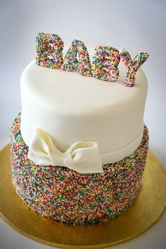 "Baby Shower Cake - sprinkles with bow.or take away the ""baby"" and have a simple sprinkles and bow cake! Beautiful Cake Pictures, Beautiful Cakes, Amazing Cakes, Baby Cakes, Cupcake Cakes, Torta Baby Shower, Easy Baby Shower Cakes, Baby Shower Cupcakes Neutral, Baby Shower Pasta"