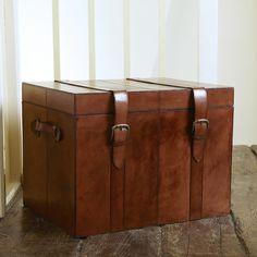 Large Leather Storage Trunk