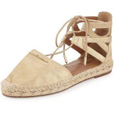 Aquazzura Belgravia Metallic Suede Flat Espadrille ($495) ❤ liked on Polyvore featuring shoes, sandals, gold, shoes flats espadrille, ankle strap platform sandals, lace-up sandals, flat sandals, flat platform sandals and espadrille flats