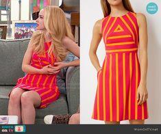 Liv's pink and orange striped dress on Liv and Maddie.  Outfit Details: https://wornontv.net/68210/ #LivandMaddie