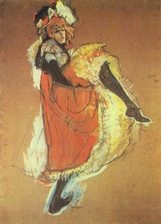 Henri de Toulouse Lautrec Jane Avril dancing,( sketch to the poster of the Jardin de Paris.)