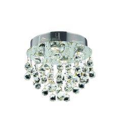 "Elegant Lighting 2006F14C/SS Galaxy Collection Flush Mount Light Fixture H14"" x D14"" Chrome Finish (Swarovski Elements Crystals)"