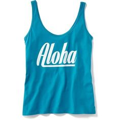 Old Navy City Graphic Tank For Women ($13) ❤ liked on Polyvore featuring tops, cerulean warbler, racer back tank, old navy, scoop neck tank, blue jersey and graphic racerback tank