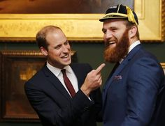 Wales' Jake Ball and Prince William laugh during the welcome ceremony for the Rugby World Cup in London, September 21, 2015. REUTERS/Paul Childs/Action ImagesLivepic