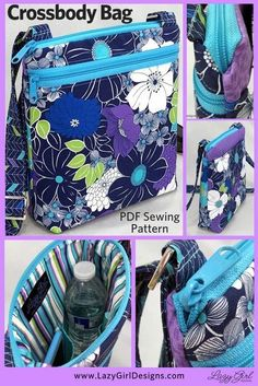 Lexi Carryall cross-body bag keeps your things safe and organized She keeps your belongings safe, secure, and tidy allowing you to carry all you really need #CrossbodyBag #Zipper #Zippers #ShoulderBag Small Zipper Pouch, Zipper Bags, Bag Patterns To Sew, Pdf Sewing Patterns, Sewing Hacks, Sewing Tutorials, Sewing Tips, Sewing Crafts, Bags Sewing