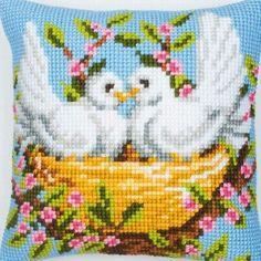 Nesting Birds Cross Stitch Cushion Kit By Vervaco Cross Stitch Cushion, Cross Stitch Bird, Cute Cross Stitch, Cross Stitch Flowers, Cross Stitch Designs, Cross Stitch Embroidery, Cross Stitch Patterns, Easy Stitch, Stitch Kit